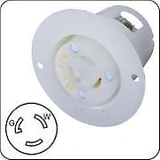 Hubbell HBL4715C Twist Lock Flanged Female Outlet for 15A/125V, white