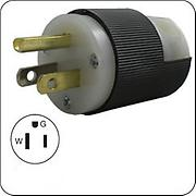 Hubbell HBL5266C AC Inline Male Plug, NEMA 5-15, steel finish