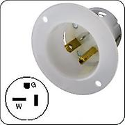 Hubbell HBL5378C AC Male AC Connector, Flanged Inlet, 20A, 125V, white
