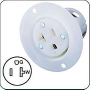 Hubbell HBL5379C AC Female Receptacle Connector, NEMA 5-20, white